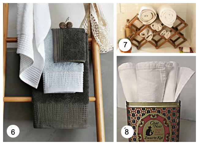Organizador De Toallas Para El Baño:cuelga tus toallas en una escalera de madera jugando con distintos